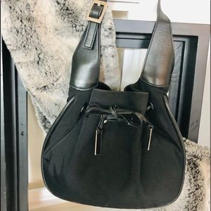GUCCI Leather & Canvas Shoulder Purse Draw String